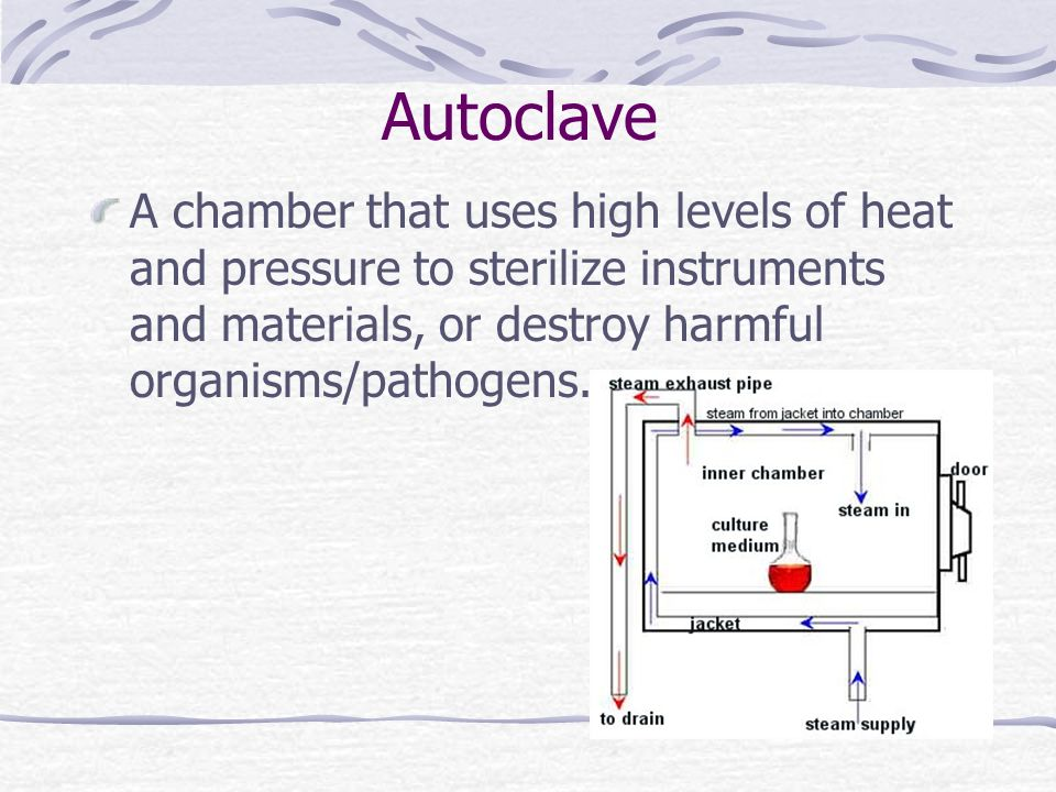 Autoclave A chamber that uses high levels of heat and pressure to sterilize instruments and materials, or destroy harmful organisms/pathogens.