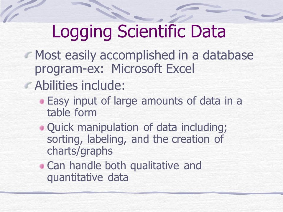 Logging Scientific Data