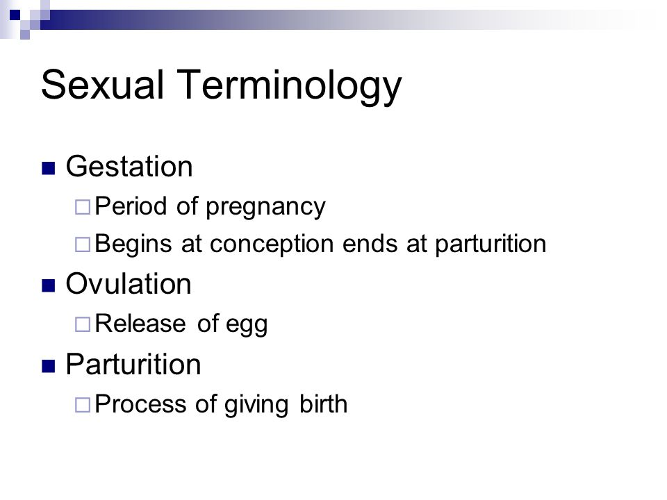 Sexual Terminology Gestation Ovulation Parturition Period of pregnancy