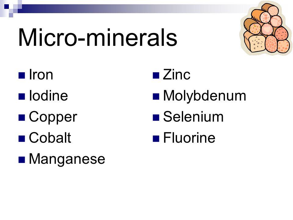 Micro-minerals Iron Iodine Copper Cobalt Manganese Zinc Molybdenum