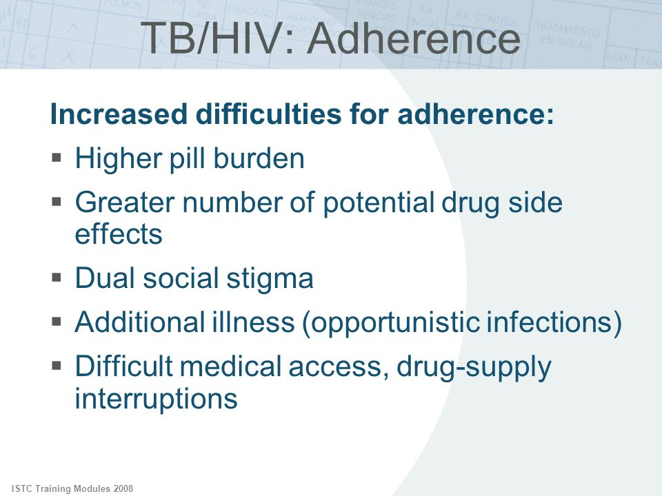 TB/HIV: Adherence Increased difficulties for adherence: