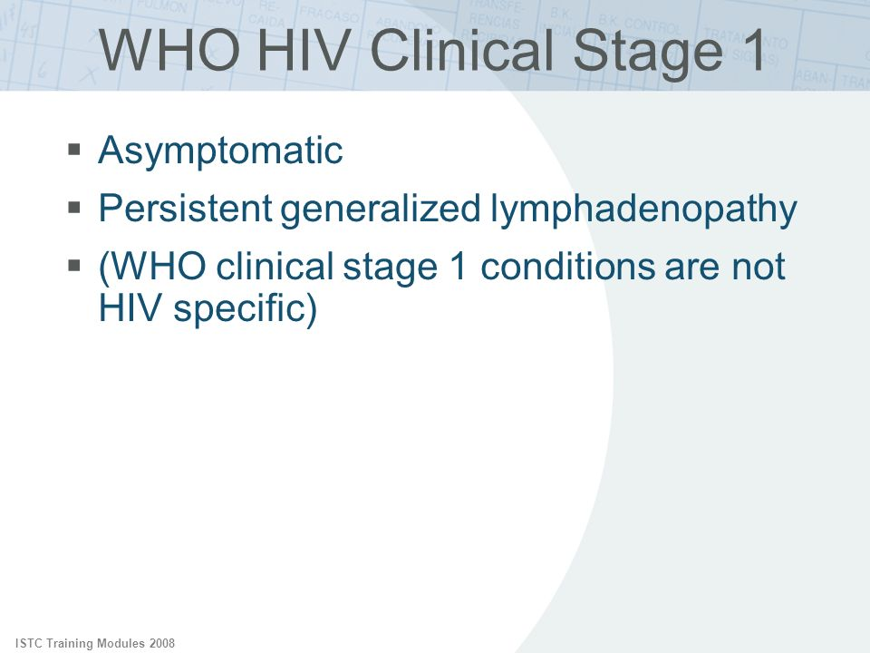 WHO HIV Clinical Stage 1 Asymptomatic