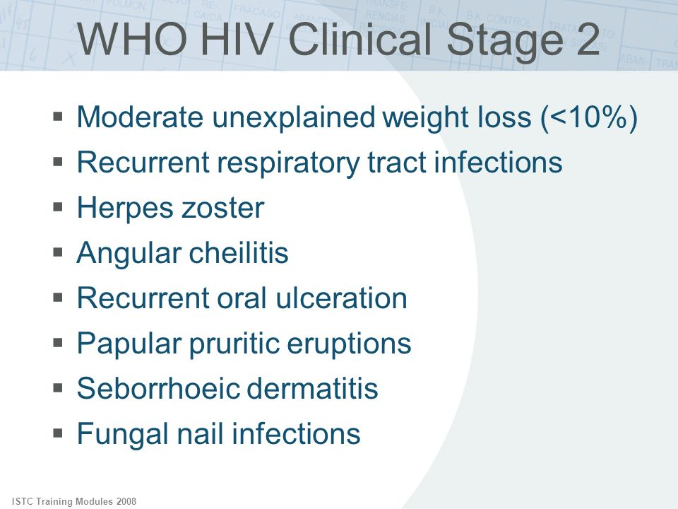 WHO HIV Clinical Stage 2 Moderate unexplained weight loss (<10%)