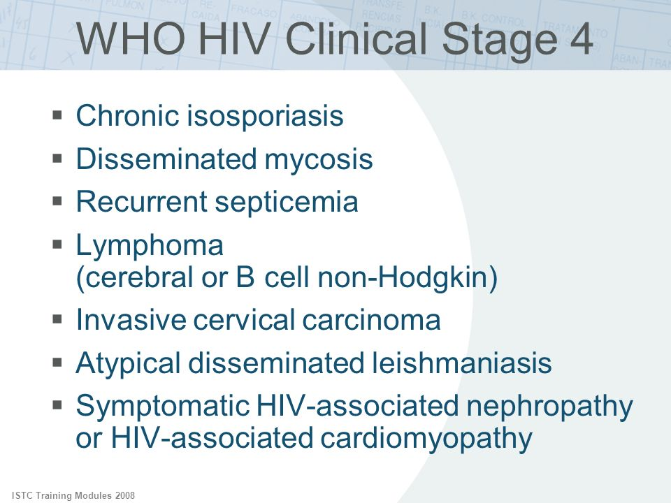 WHO HIV Clinical Stage 4 Chronic isosporiasis Disseminated mycosis