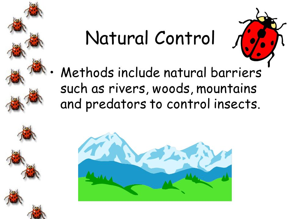 Natural Control Methods include natural barriers such as rivers, woods, mountains and predators to control insects.