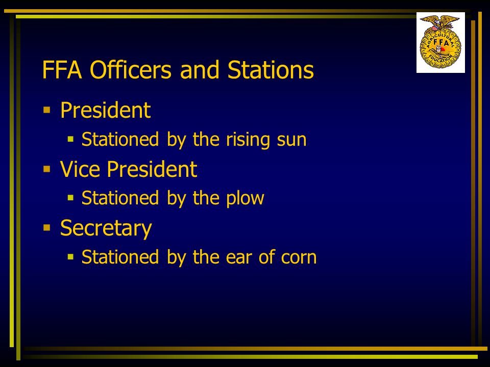 FFA Officers and Stations