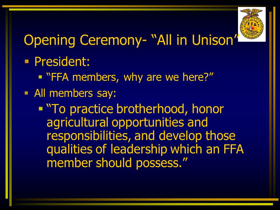 Opening Ceremony- All in Unison