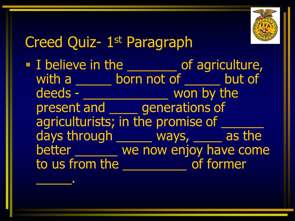 Creed Quiz- 1st Paragraph