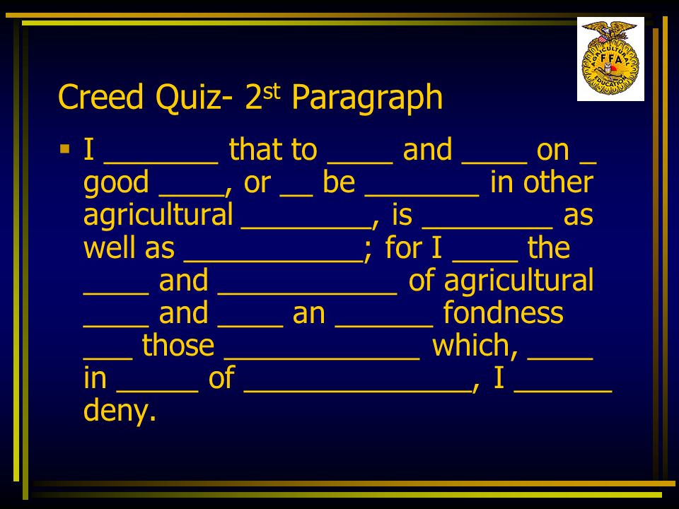 Creed Quiz- 2st Paragraph