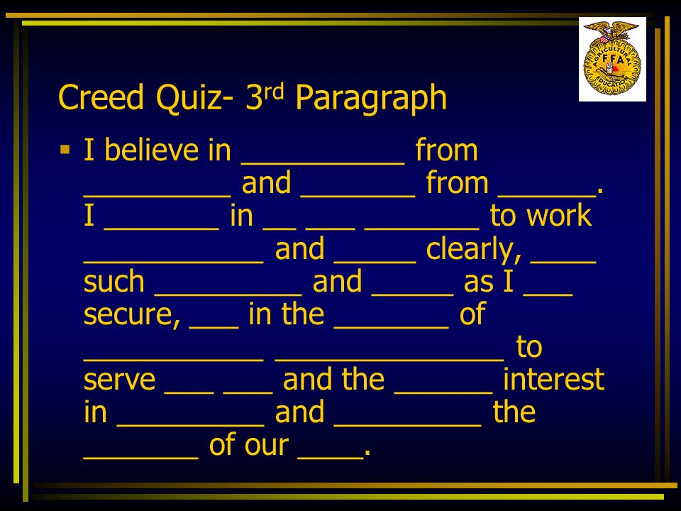 Creed Quiz- 3rd Paragraph