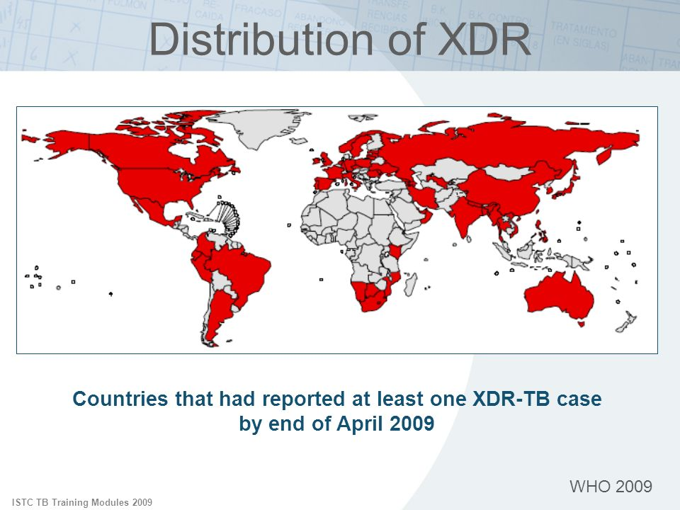 Distribution of XDR ISTC TB Training Modules 2009. Reports have noted the presence of XDR-TB in all regions of the world.