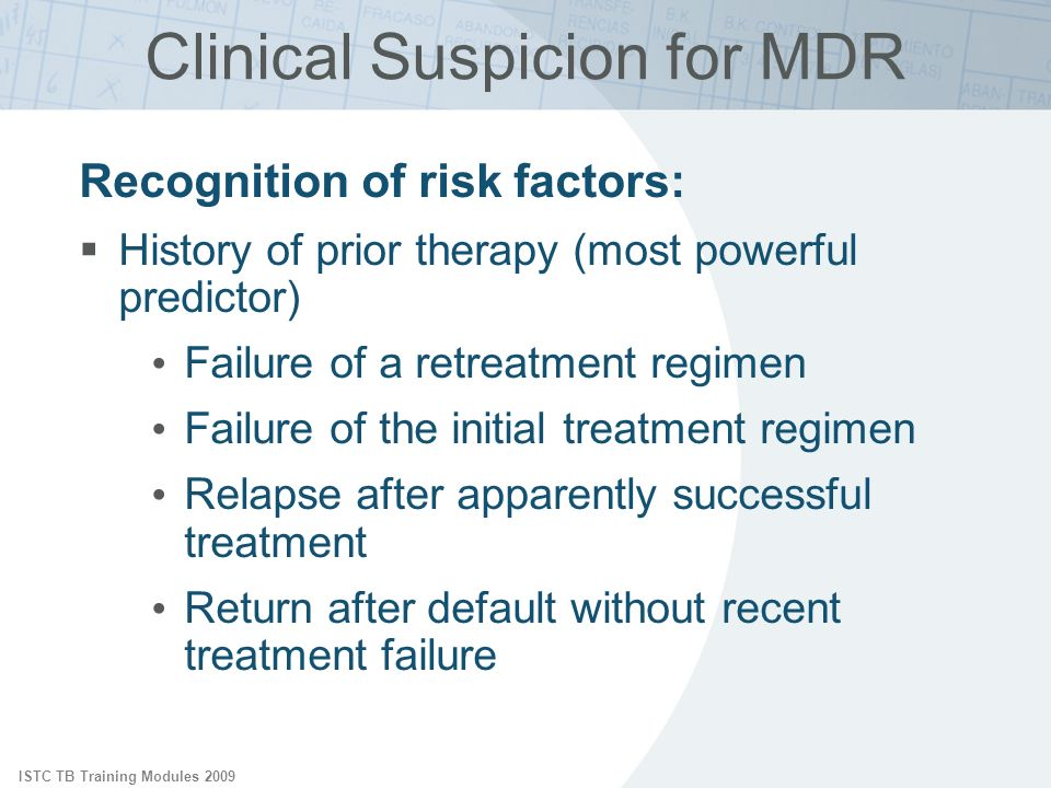 Clinical Suspicion for MDR
