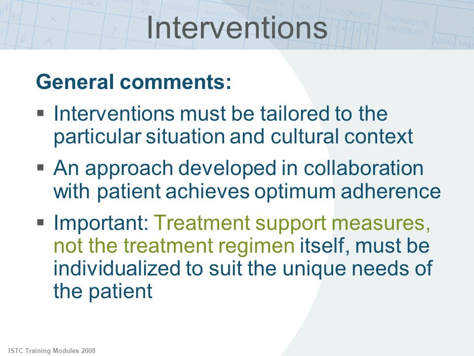 Interventions General comments: