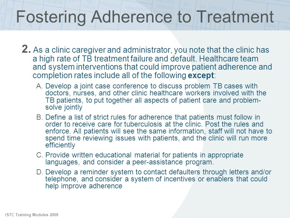 Fostering Adherence to Treatment