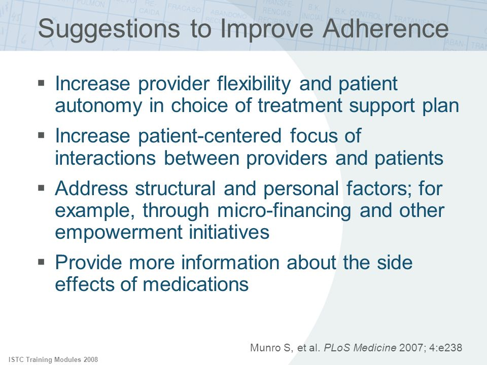 Suggestions to Improve Adherence