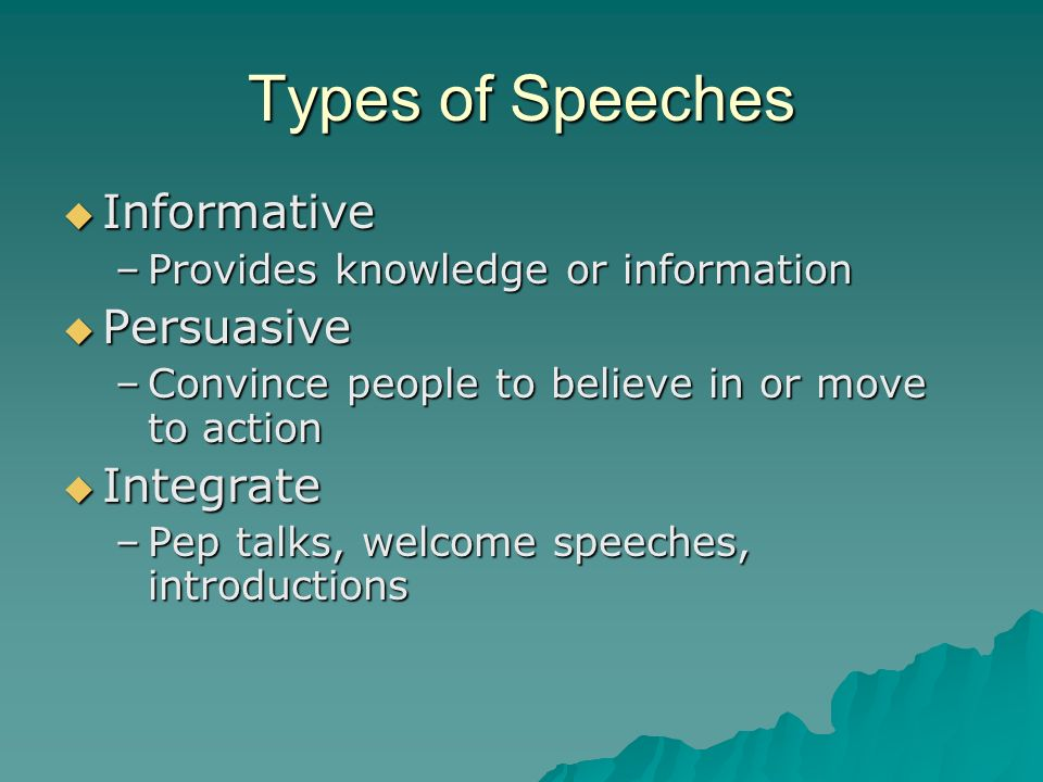 Types of Speeches Informative Persuasive Integrate