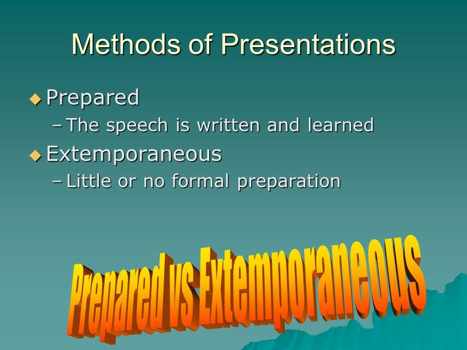 Methods of Presentations