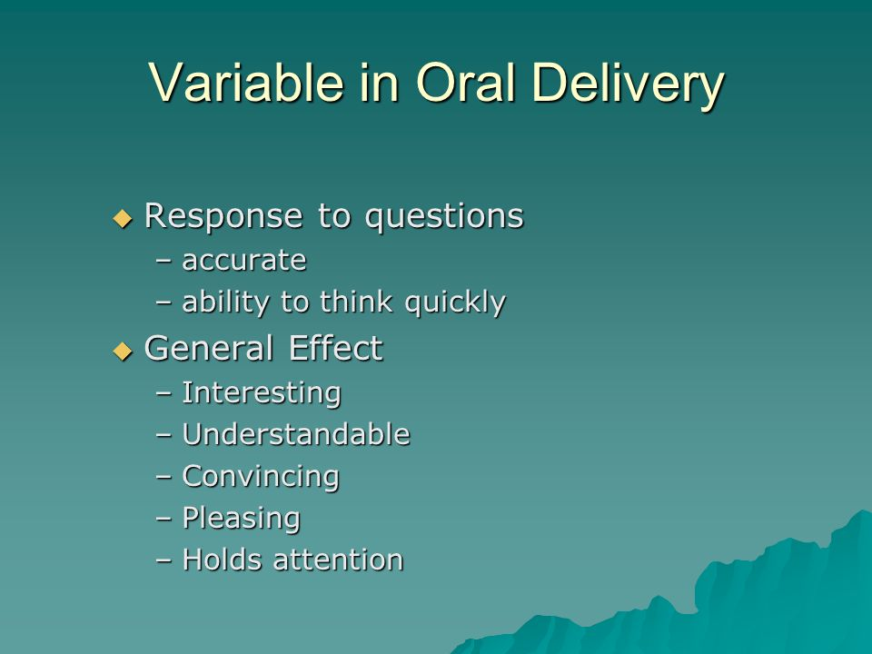 Variable in Oral Delivery