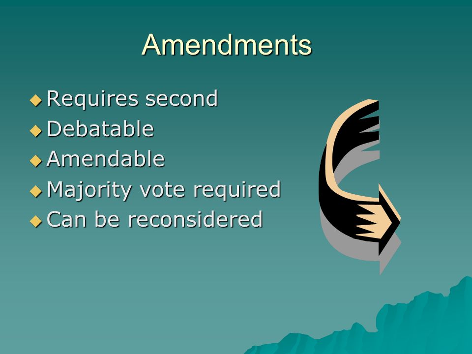 Amendments Requires second Debatable Amendable Majority vote required