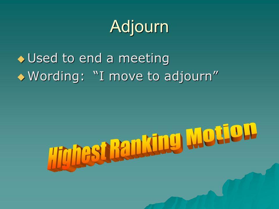 Highest Ranking Motion