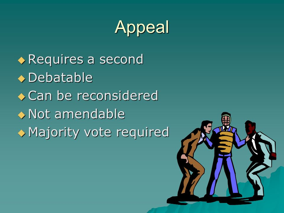 Appeal Requires a second Debatable Can be reconsidered Not amendable