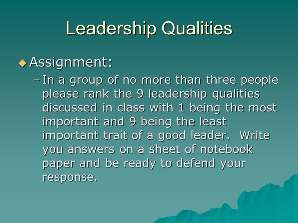 Leadership Qualities Assignment: