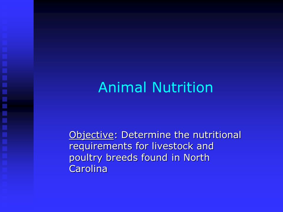 Animal Nutrition Objective: Determine the nutritional requirements for livestock and poultry breeds found in North Carolina.