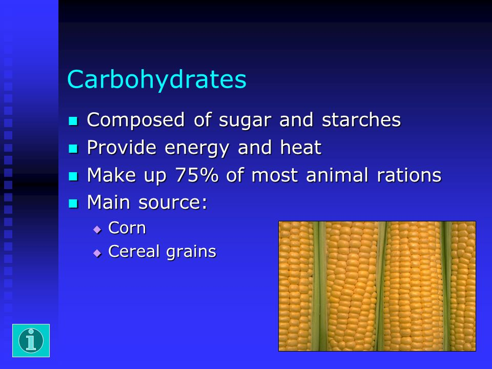 Carbohydrates Composed of sugar and starches Provide energy and heat