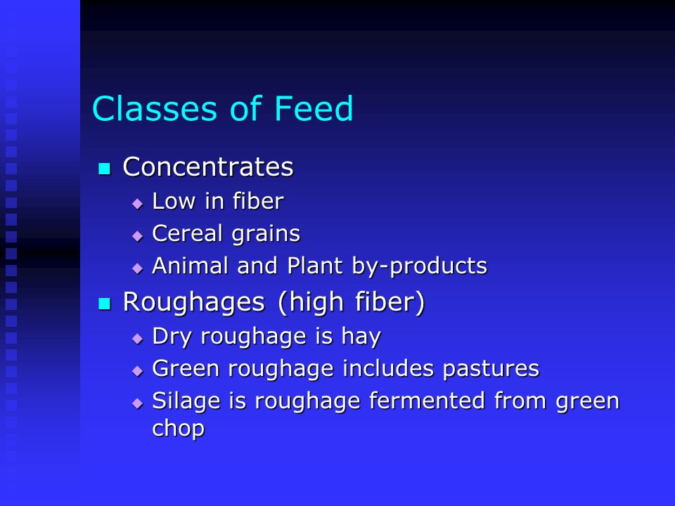 Classes of Feed Concentrates Roughages (high fiber) Low in fiber