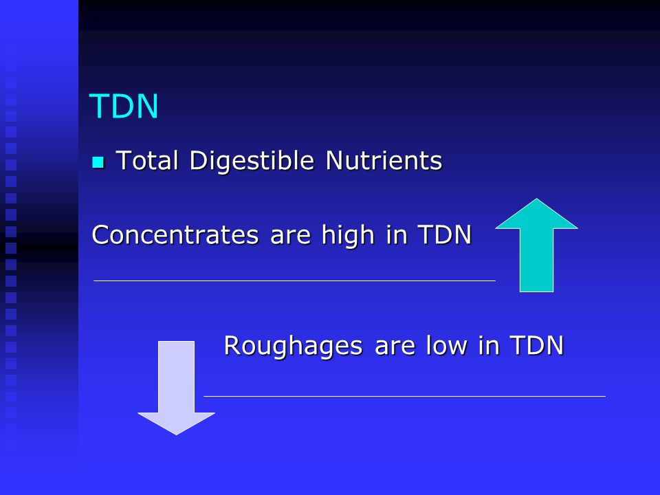 TDN Total Digestible Nutrients Concentrates are high in TDN