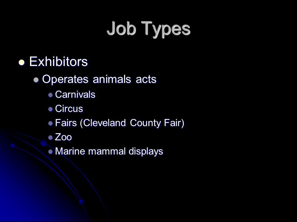 Job Types Exhibitors Operates animals acts Carnivals Circus