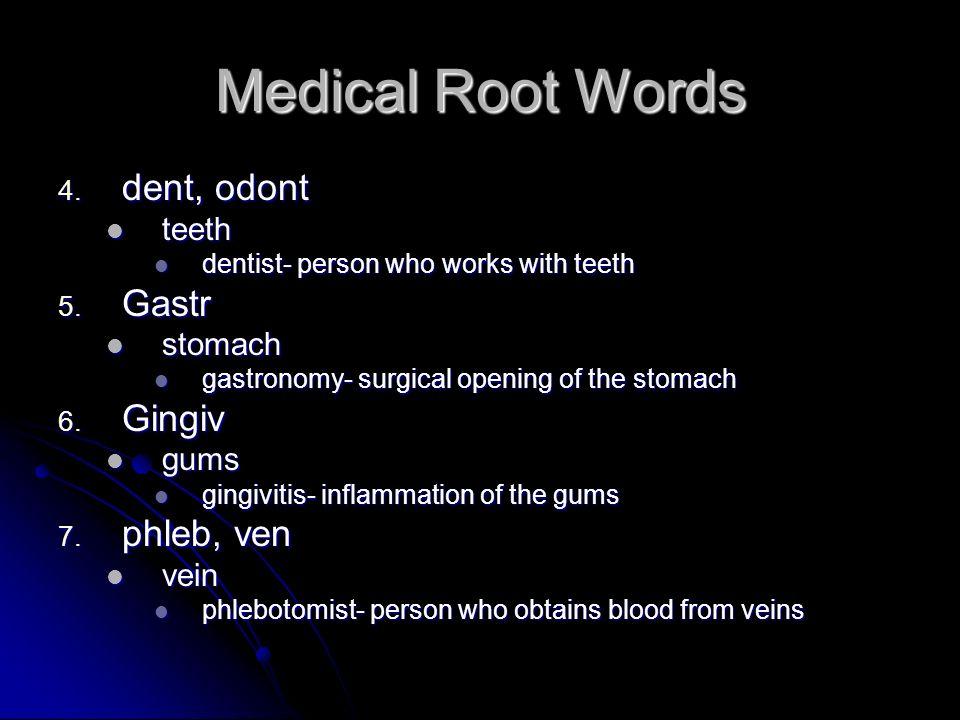Medical Root Words dent, odont Gastr Gingiv phleb, ven teeth stomach