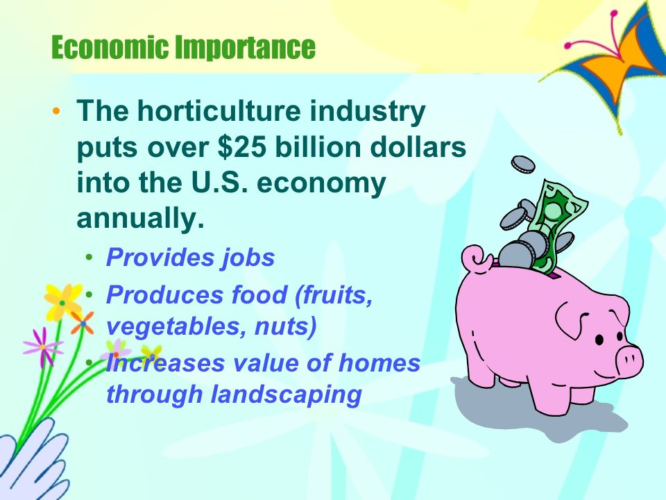 Economic Importance The horticulture industry puts over $25 billion dollars into the U.S. economy annually.