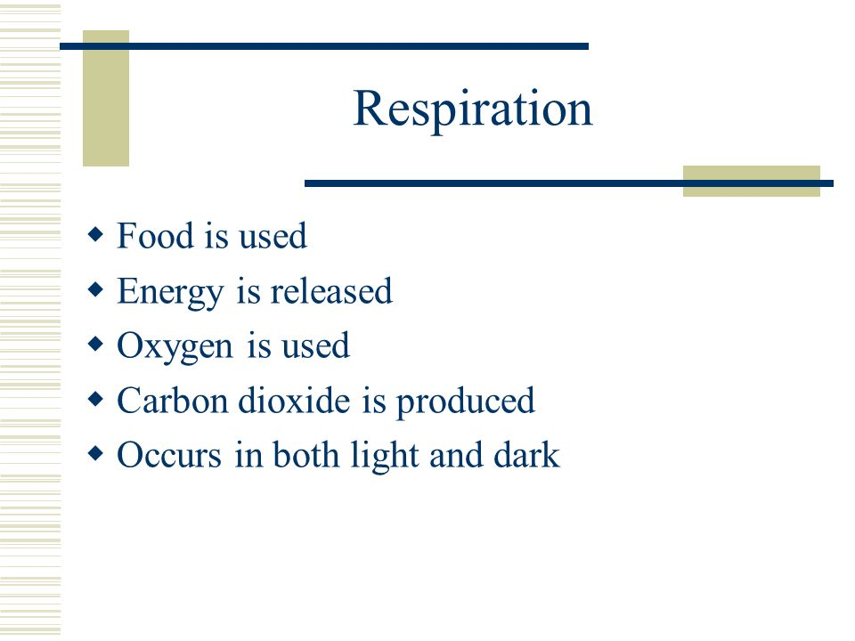 Respiration Food is used Energy is released Oxygen is used