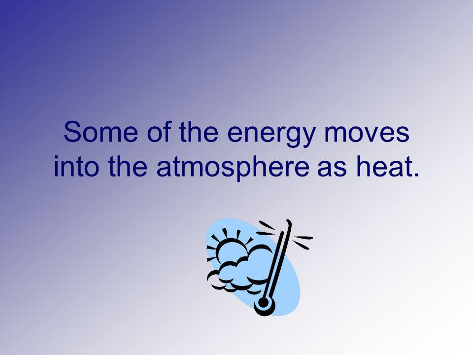 Some of the energy moves into the atmosphere as heat.