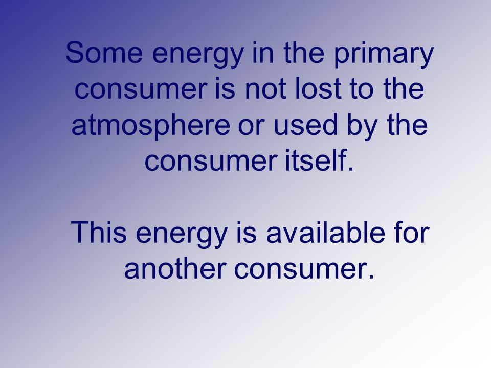 Some energy in the primary consumer is not lost to the atmosphere or used by the consumer itself.