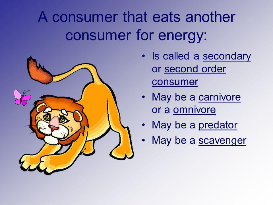 A consumer that eats another consumer for energy:
