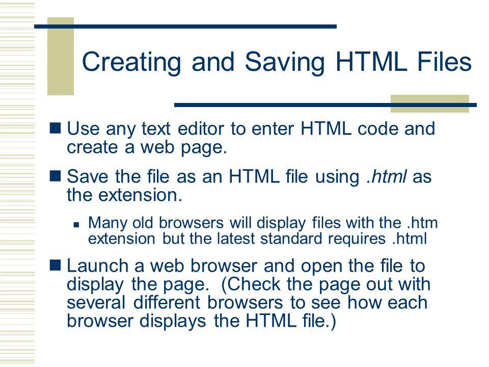 Creating and Saving HTML Files