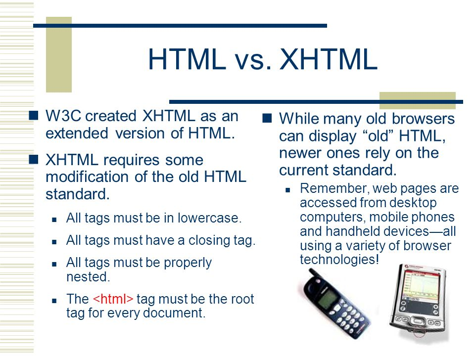 HTML vs. XHTML W3C created XHTML as an extended version of HTML.