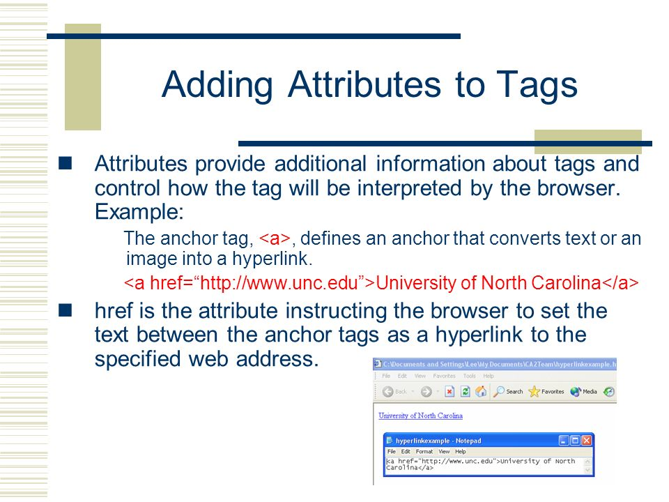 Adding Attributes to Tags