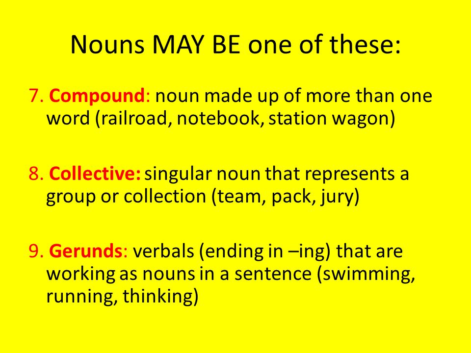 Nouns MAY BE one of these: