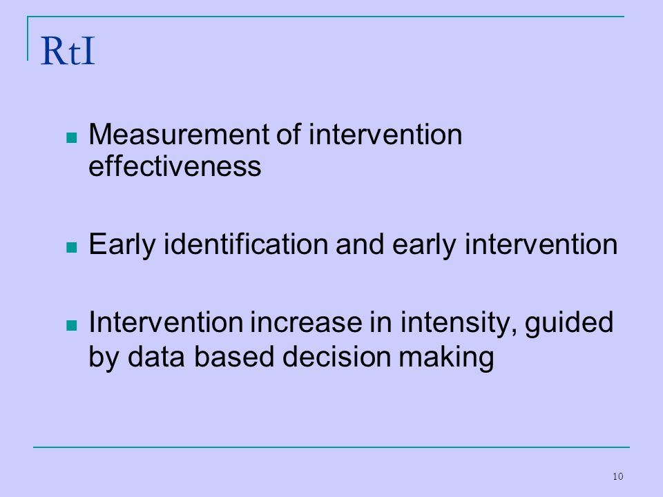 RtI Measurement of intervention effectiveness
