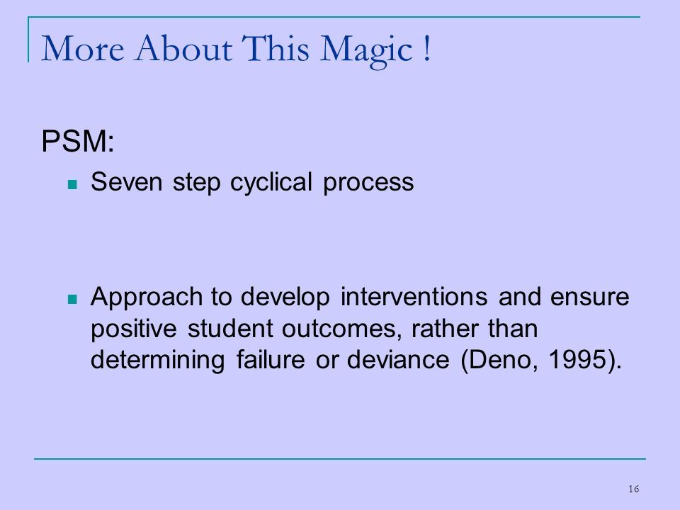 More About This Magic ! PSM: Seven step cyclical process