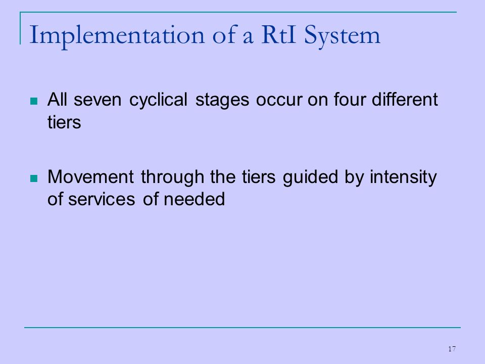 Implementation of a RtI System