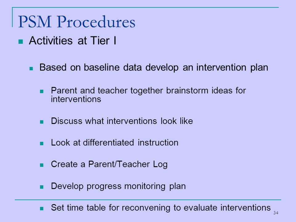 PSM Procedures Activities at Tier I