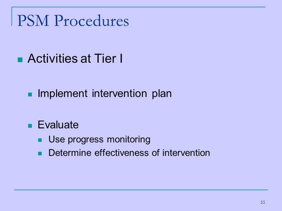 PSM Procedures Activities at Tier I Implement intervention plan