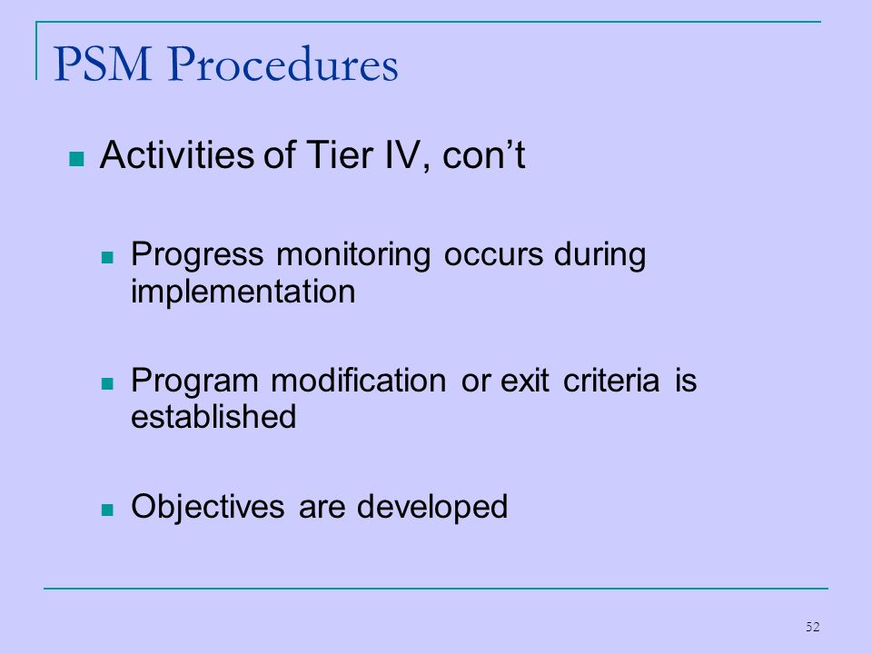 PSM Procedures Activities of Tier IV, con't