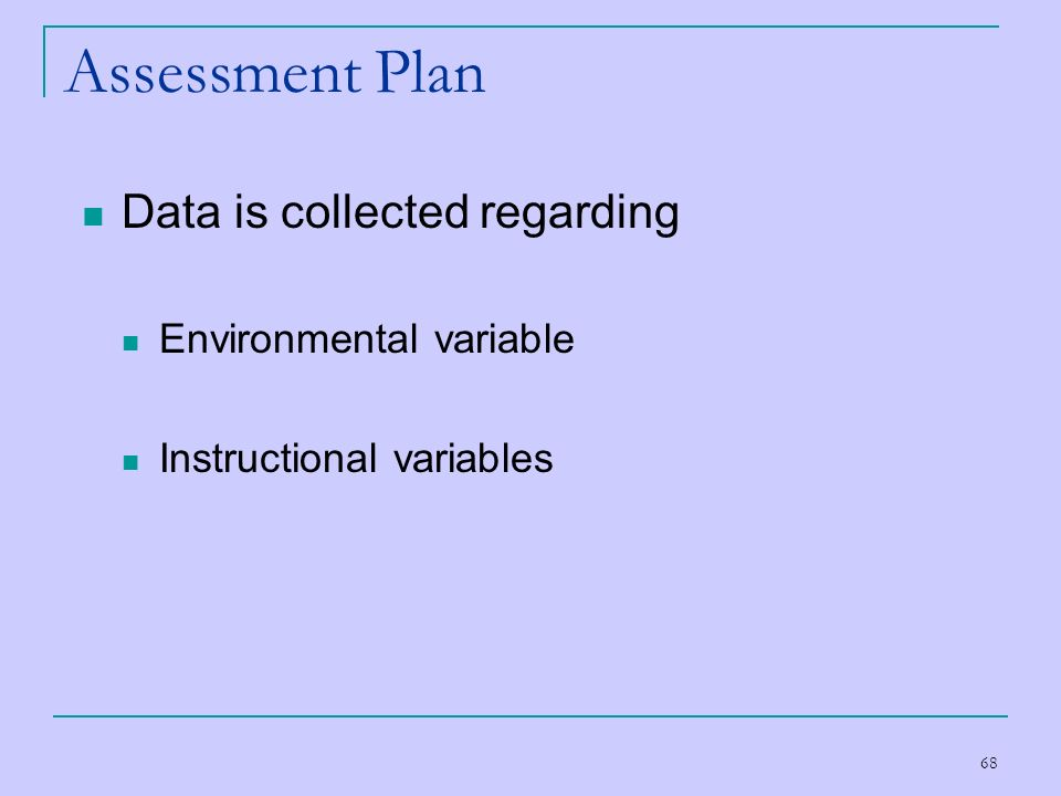 Assessment Plan Data is collected regarding Environmental variable