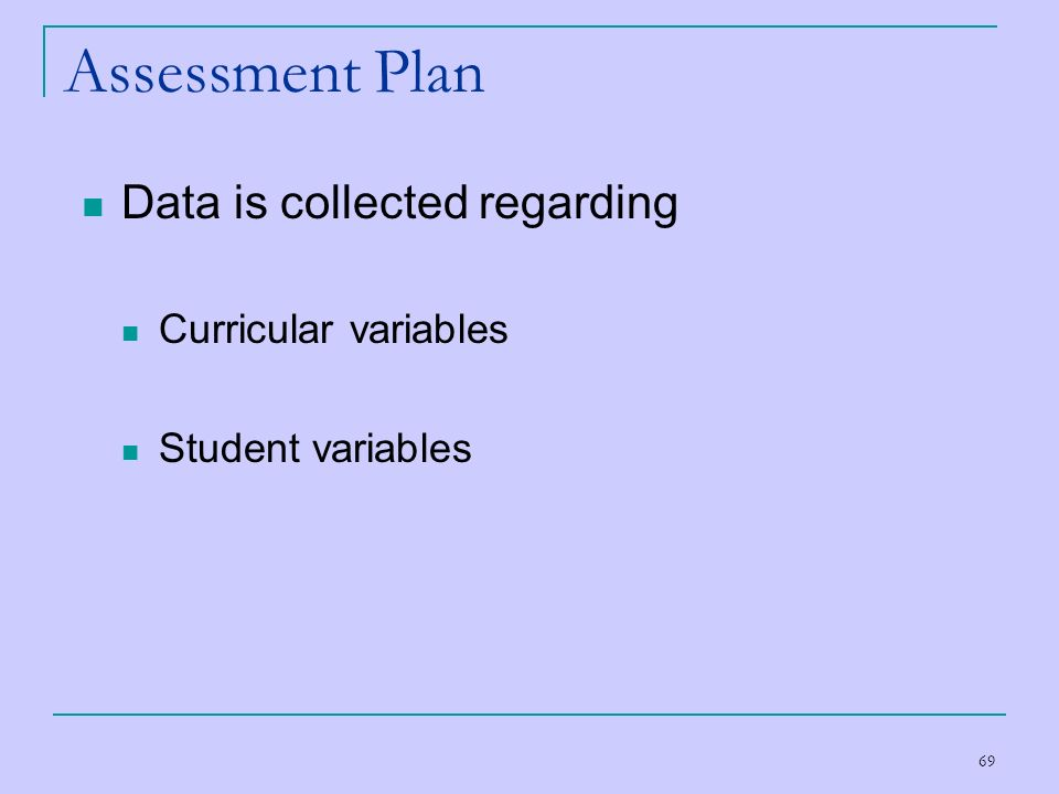 Assessment Plan Data is collected regarding Curricular variables