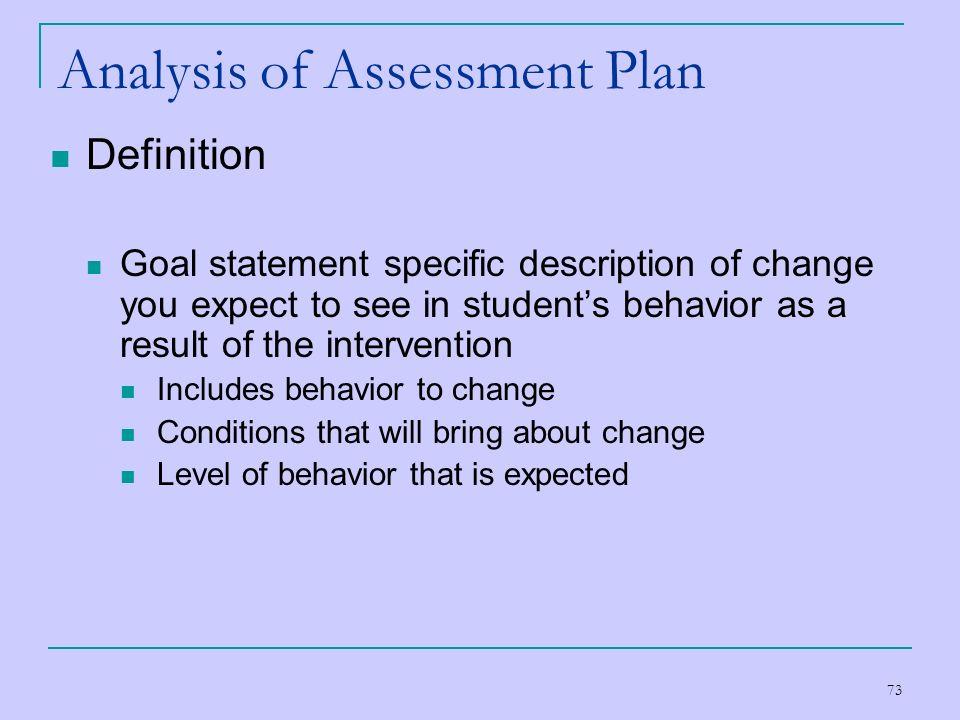 Analysis of Assessment Plan